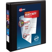 "Avery Heavy-Duty View Binder, 1-1/2"" One Touch Rings, 400 Sheet Capacity, DuraHinge, Black (79695)"