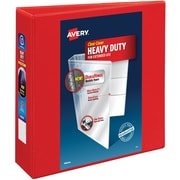 "Avery Heavy-Duty View Binder, 3"" One Touch Rings, 670 Sheet Capacity, DuraHinge, Red (79325)"