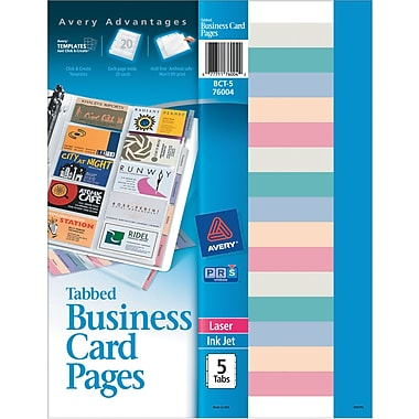 Avery Tabbed Business Card Pages