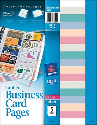 Avery® Business Card Protector Sheets with Tabs and Inserts, 5 Sheets/Pack