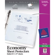 "Avery ""Non-Stick"" Top-Loading Sheet Protectors, Standard-Weight, Semi-Clear, 50/Pk"