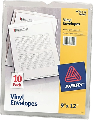 Avery Clear Vinyl Envelope, Top Load/Thumb Notch, 9