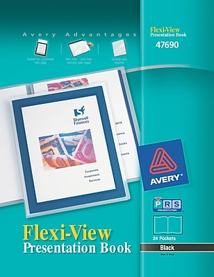 Avery Flexi View Presentation Book 47690, Black, 24 Page Book
