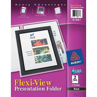Avery(R) Flexi-View(TM) Two-Pocket Folder 47847, Black, Pack of 2
