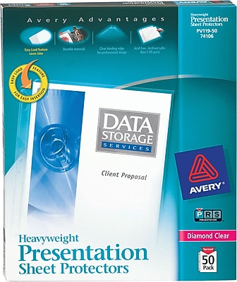 Avery® Sheet Protectors, Heavyweight Polypropylene, 50/Box, Diamond Clear