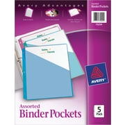 Avery Three-Ring Poly Binder Pockets, 5/Pack, Multiple Colors (75254)