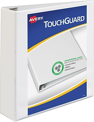 """Avery TouchGuard Protection View Binder with 2"""" Slant Rings, White (17143)"""
