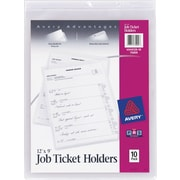 "Avery Job Ticket Holder, Heavyweight Front, Frosted Matte Back, Clear, 9"" x 12"", 10/Pk"