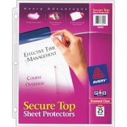 Avery® Diamond Clear Secure Top™ Sheet Protectors 76000, Acid-Free, Pack of 25