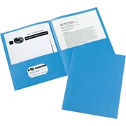"Avery Two-Pocket Folders, 8.5"" x 11"", Light Blue, 25/Box (47986)"