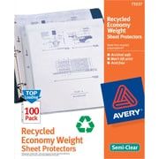 Avery® Recycled Sheet Protectors, Economy Weight Non-Stick Polypropylene, 100/Box, Semi-Clear