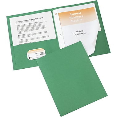Avery(R) Two-Pocket Folders 47977, Green, Pack of 25