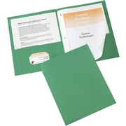 Avery® Two-Pocket Folders 47977, Green, Pack of 25