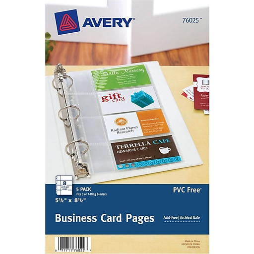 Avery 5 12 x 8 12 business card pages staples httpsstaples 3ps7is reheart Image collections