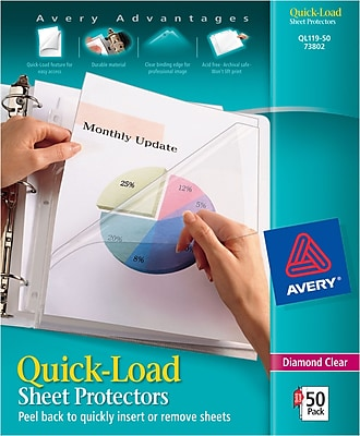Avery® Diamond Clear Quick-Load™ Sheet Protectors