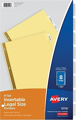 Avery WorkSaver® Insertable Tab Dividers, 8 1/2