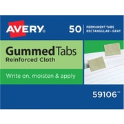 "Gummed Index Tabs, 1""x13/16"", 1/2"" Ext, Gray Cloth"