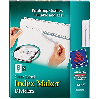 Avery Index Maker® White Dividers with Clear Tab Labels for Copiers, 8-Tab