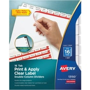 "Avery™ Index Maker® Double-Column Clear Label Tab Dividers, 16-Tab, White, 8 1/2"" x 11"""