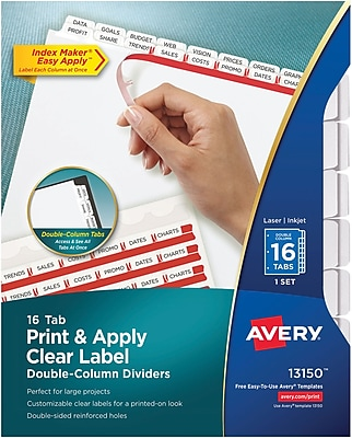 Avery™ Index Maker® Double-Column Clear Label Tab Dividers, 16-Tab, White, 8 1/2