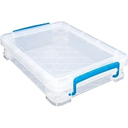 Advantus Super Stacker Document Box, Clear w/Blue Handles (36873)