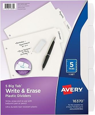 Avery® Durable Write-On Dividers, 5-Tab, White, 8 1/2