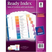 "Avery® Ready Index® Table of Contents Dividers with Sub-Dividing Tabs, 1-8 Tab, Multicolor, 8 1/2"" x 11"", 1/ST"