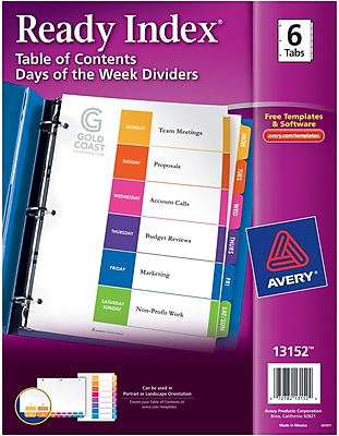 Avery Ready Index Table of Contents Dividers, 6-Tab Set, Mon.-Sat./Sun. (13152)