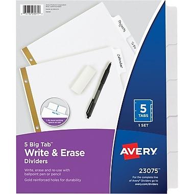 Avery® Write-On Big Tab Dividers, White, 5-Tab Set (23075)