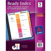 Avery(R) Ready Index(R) Table of Contents Dividers for Classification Folders 13156, 5-Tab Set
