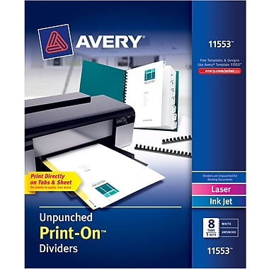 Avery(R) Unpunched Print-On(TM) Dividers 11553, White, 8 Tabs, 5 Sets