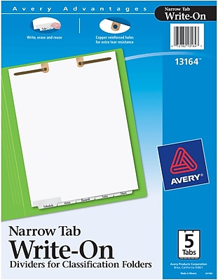Avery® Write-On Dividers for Classification Folders, Narrow Bottom Tabs, 5-Tab Set