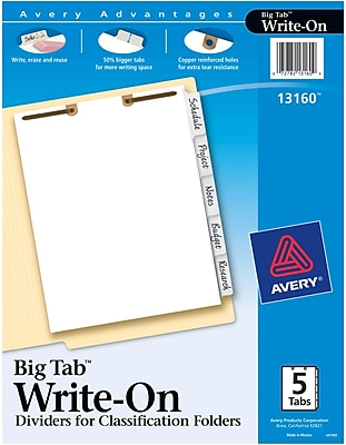 Avery® Big Tab™ Write-On Dividers for Classification Folders, Side Tabs, 5-Tab Set