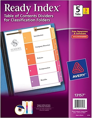Avery(R) Ready Index(R) Table of Contents Dividers for Classification Folders 13157, 5-Tab Sets, Pack of 3