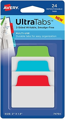Avery® Multiuse Ultra Tabs™, Primary (Red, Blue, Green), 2