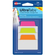 "Avery® Multiuse Ultra Tabs™, Neon (Pink, Green, Orange), 2"" x 1-1/2"", Pack of 24 Repositionable, Two-Side Writable Tabs"