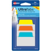 "Avery® Multiuse Ultra Tabs™, Primary (Blue, Orange, Yellow), 2"" x 1-1/2"", Pack of 24 Repositionable, Two-Side Writable Tabs"