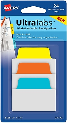 Avery® Multiuse Ultra Tabs™, Primary (Blue, Orange, Yellow), 2