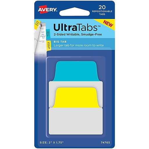 """Avery® Big Tab Ultra Tabs™, Primary (Yellow, Blue), 2"""" x 1-3/4"""", Pack of 20 Repositionable, Two-Side Writable Tabs"""
