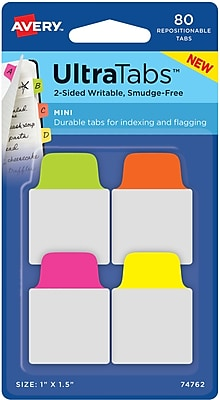 Avery® Mini Ultra Tabs™, Neon (Pink, Yellow, Green, Orange), 1