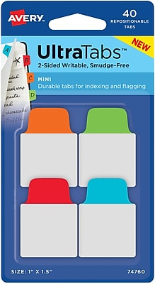 Avery® Mini Ultra Tabs™, Primary (Red, Blue, Orange, Green), 1