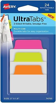 Avery® Multiuse Ultra Tabs™, Neon (Pink, Green, Orange), 2