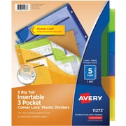 "Avery® Big-Tab™ Three Pocket Insertable Plastic Dividers with Corner Lock™, 5-Tab, Multicolor, 8 1/2"" x 11"", 1/St"