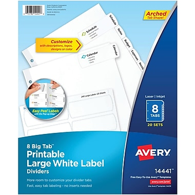 Avery Big Tab Printable Large White Label Dividers with Easy Peel 14441, 8 Tabs, 20 Sets
