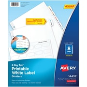 Avery® Big Tab Printable White Label Dividers with Easy Peel 14435, 8 Tabs, 20 Sets