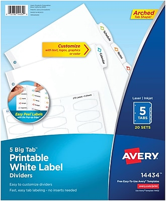 Avery® Big Tab Printable White Label Dividers with Easy Peel 14434, 5 Tabs, 20 Sets