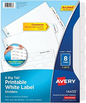 Avery Big Tab Printable White Label Dividers with Easy Peel 14433, 8 Tabs, 4 Sets