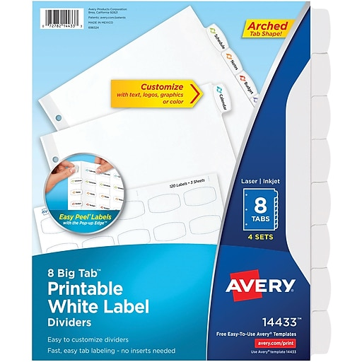 Avery Big Tab Printable White Label Dividers With Easy Peel 14433 8