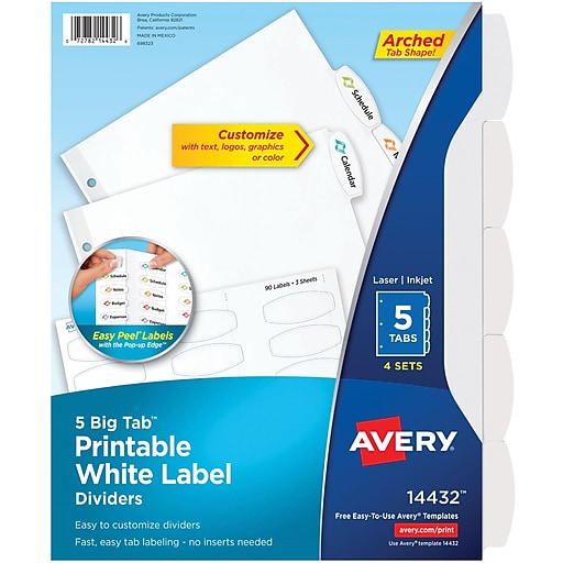 Avery Big Tab Printable White Label Dividers With Easy Peel 14432 5