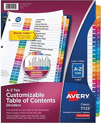 Avery® Classic Ready Index® Table of Contents Dividers for Laser/Inkjet Printers, A-Z Tabs, Multicolor (11125)